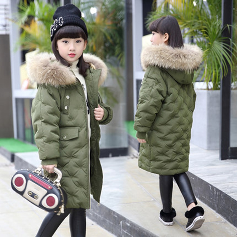 Girl Duck Down Jacket 2017 New Winter Children Coat Hooded Parkas Thick Warm Windproof Clothes Kids Clothing long Model Outwear 2017 winter women jacket new fashion thick warm medium long down cotton coat long sleeve slim big yards female parkas ladies269