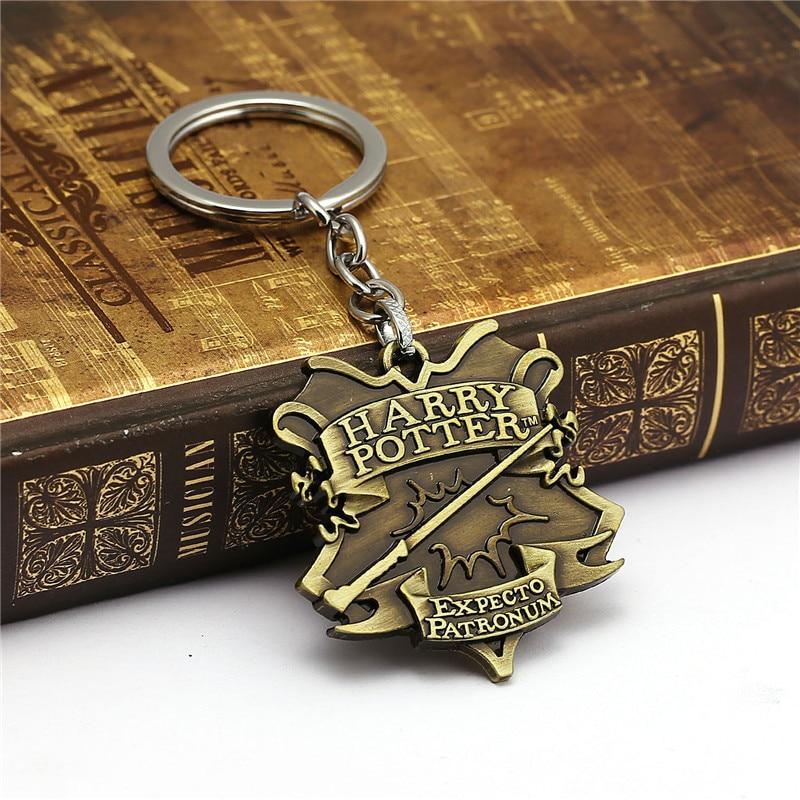 Harri Potter Hogwarts College Badge Keychain Toy Harry Potter Magic World Magic Wand Keychain Action Figure Cosplay Toys