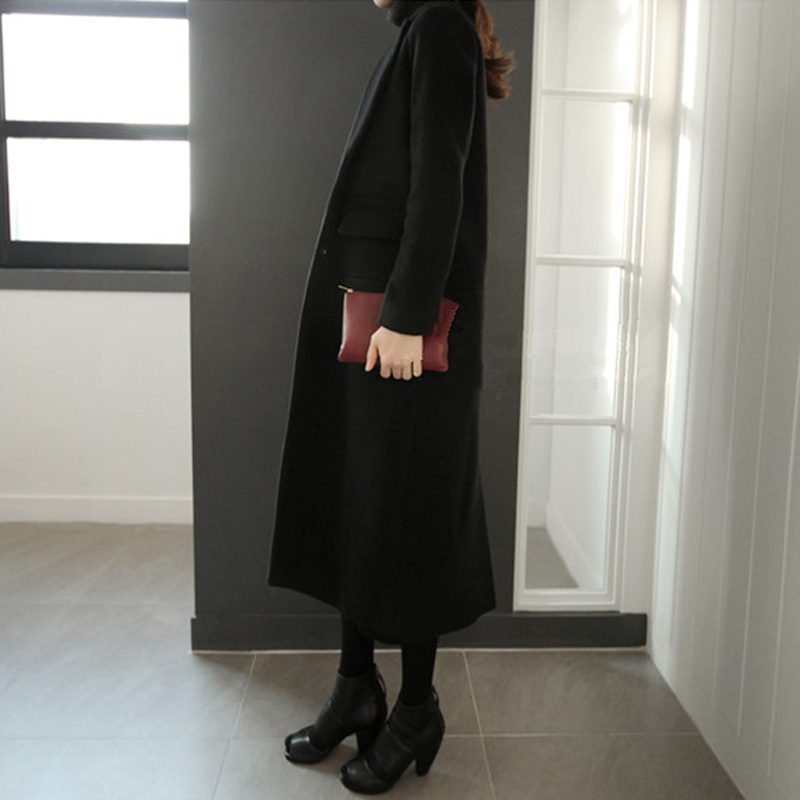 black lapel extra long wool coat women fashion winter long camel ...