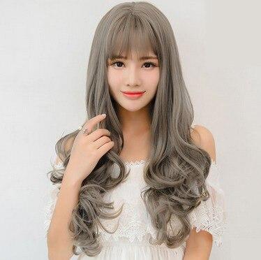 Korean Semi Head Women Temperament Long Curls Micro Head Simulation Wig Sets font b Hair b