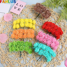 12pcs/lot 25mm Foam Mini Rose Artificial Flower Wedding Party Decor Fake Flowers For Crafts Happy Valentines Day