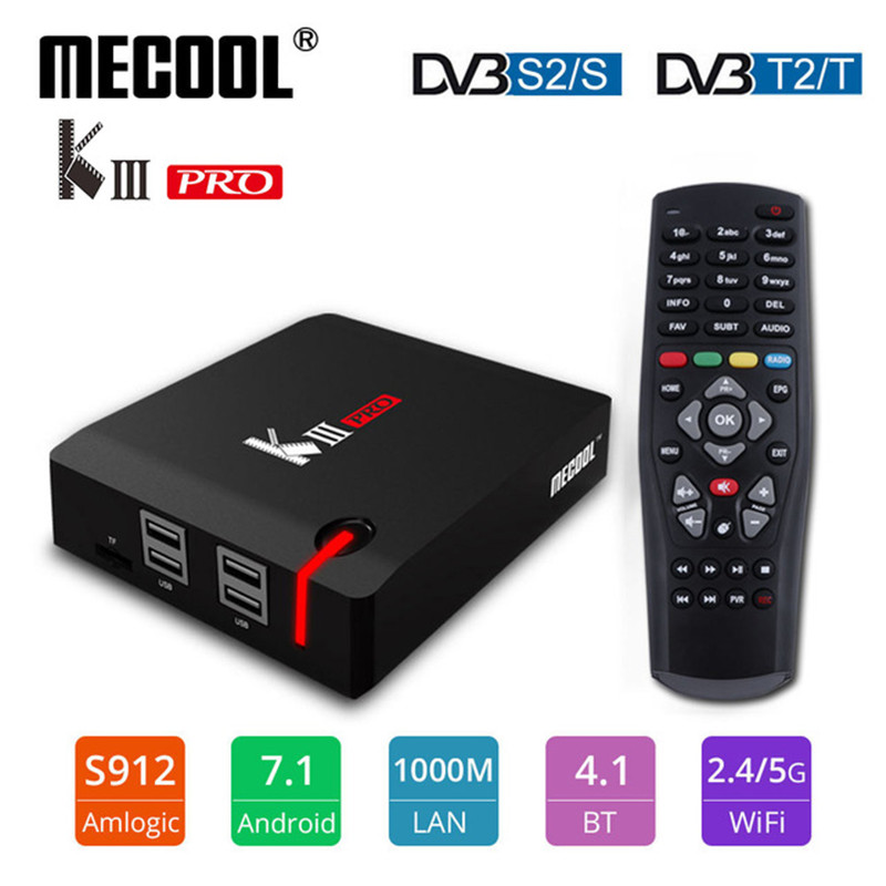 Android tv box MECOOL KIII PRO DVB S2 DVB T2 Android 7.1 TV Box 3GB 16GB Amlogic S912 Octa Core 4KCombo NEWCAMD Biss key PowerVU-in Set-top Boxes from Consumer Electronics    1