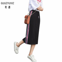 GUUZYUVIZ 2018 Autumn Casual Striped Long Skirt Jupe Longue Wrap Hip Pencil Skirt