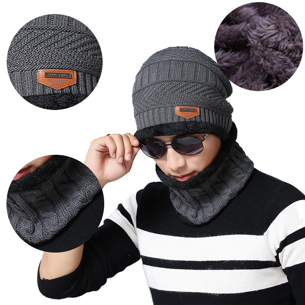 2018 Fleece Warme Strickschal Mütze Nackenwärmer Unisex Winter Winddicht Hüte Für Männer Wolle Warme Mützen Stricken Mode