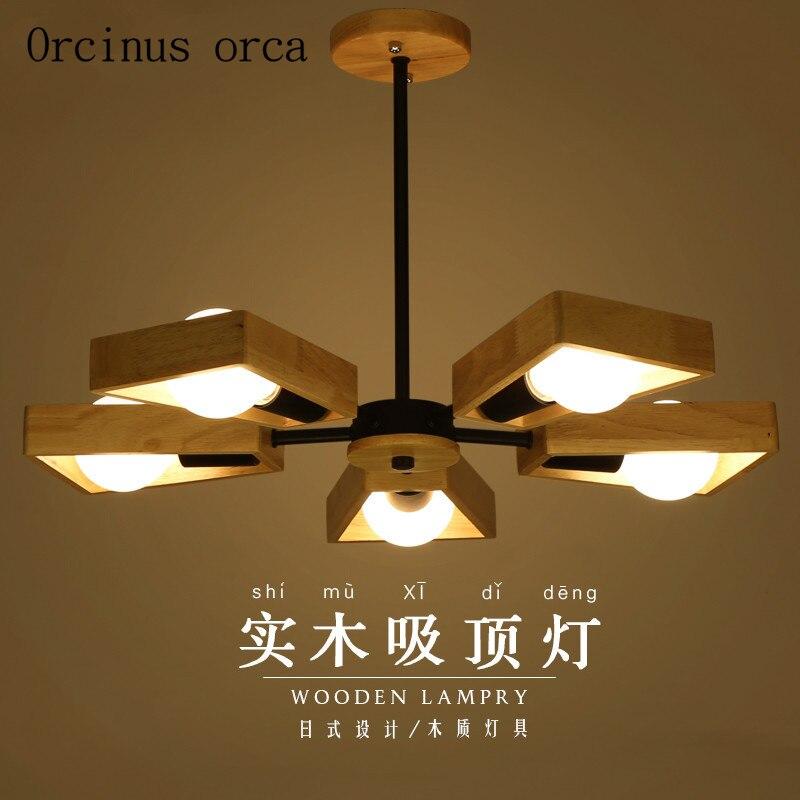 Creative Nordic Solid Wood Chandelier Modern Minimalist Japanese Log Living Room Lamp Restaurant Chandelier Postage Free