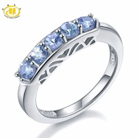 Hutang Classic Style Natural Tanzanite Ring Five Stone Solid 925 Sterling Silver Gemstone Fine Jewelry For