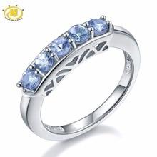 Hutang doğal Tanzanite alyans beş taş katı 925 ayar gümüş yüzük taş güzel klasik zarif takı hediye