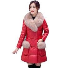 2016 Winter New Women's Leather Down Jacket High Imitation Fox Fur Slim Thick Warm Fur Coat Plus Size Faux Fur Outerwear  LZ025