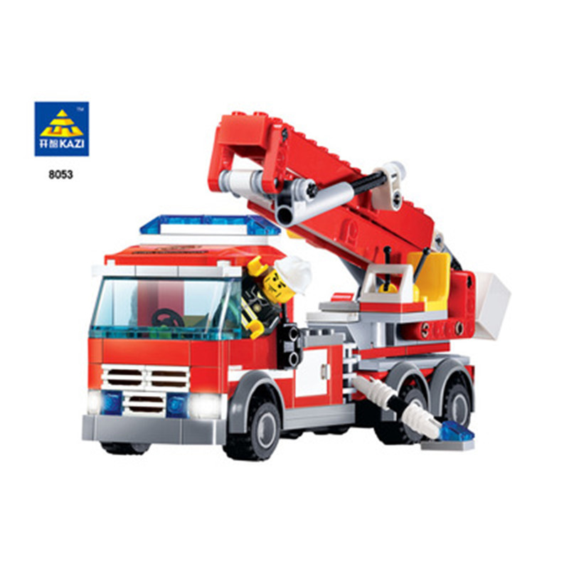 KAZI 8053 Building Blocks Toy Engineering City fire trucks DIY Action Figure Deformation Toys Children Educational juguetes шахматы uncle wang 8053 8063 8063 8053