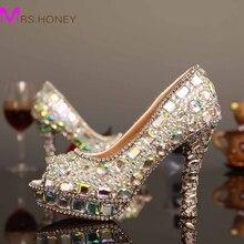 Luxury AB Crystal High Heels Woman Shoes 2017 Fashion Glitter Crystal Peep Toe Bridal Wedding Dress Shoes Lady's Party Proms