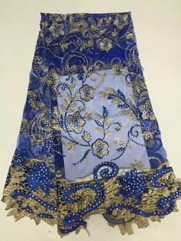 Royalblue color Hot selling! High quality african cord lace tulle guipure lace fabric with beaded.Wholesale french lace fabric