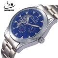 SHENHUA Famosa Marca Relógios Homens Relógios Masculino Relógio À Prova D' Água Turbilhão Homens Relógio Mecânico Automático de Esqueleto Assista Fase Da Lua