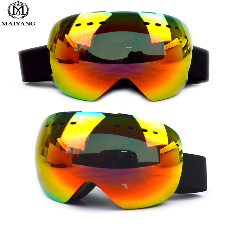 ФОТО Winter Frameless Outdoor Ski Goggles Double Layer UV400 Anti-fog Big Ski Mask Glasses Skiing Snow Snowboard Goggles HX-XB