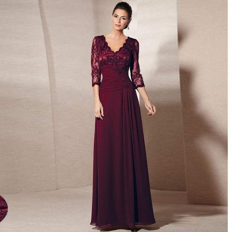 Bride Gowns 2015: MANSA 2015 Sexy Wine Red V Neck Lace And Chiffon Mother Of