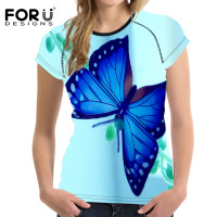 FORUDESIGNS Summer Short Sleeve T Shirt 2017 New Harajuku Novelty Women Tops Beauty Butterfly Print T