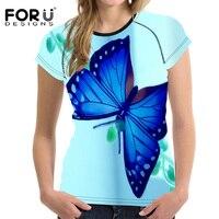 FORUDESIGNS Summer Short Sleeve T Shirt 2017 New Harajuku Novelty Women Tops Beauty Butterfly Print T