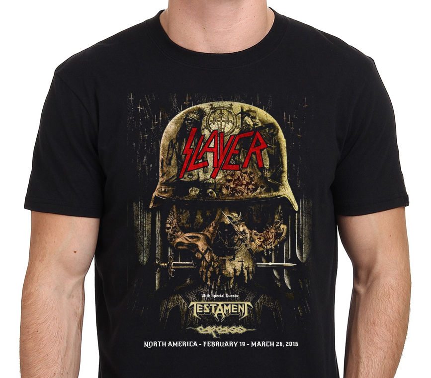 Slayer Anthrax Death Angel 2016 Tour Front & Back Mens T-shirt Size:s-to-3xl Men T Shirt Novelty O-neck Tops Short Sleeve Sales Of Quality Assurance Tops & Tees