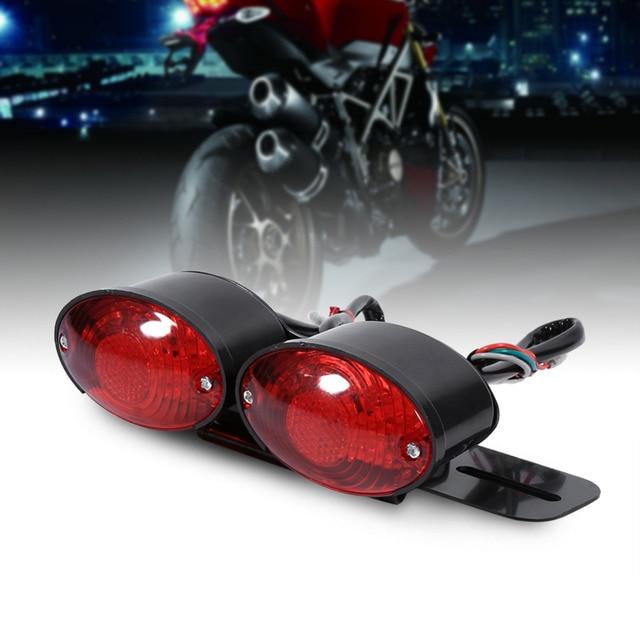 Motorcycle Lamp Dual Cat Eye Custom License Plate Holder Rear Tail