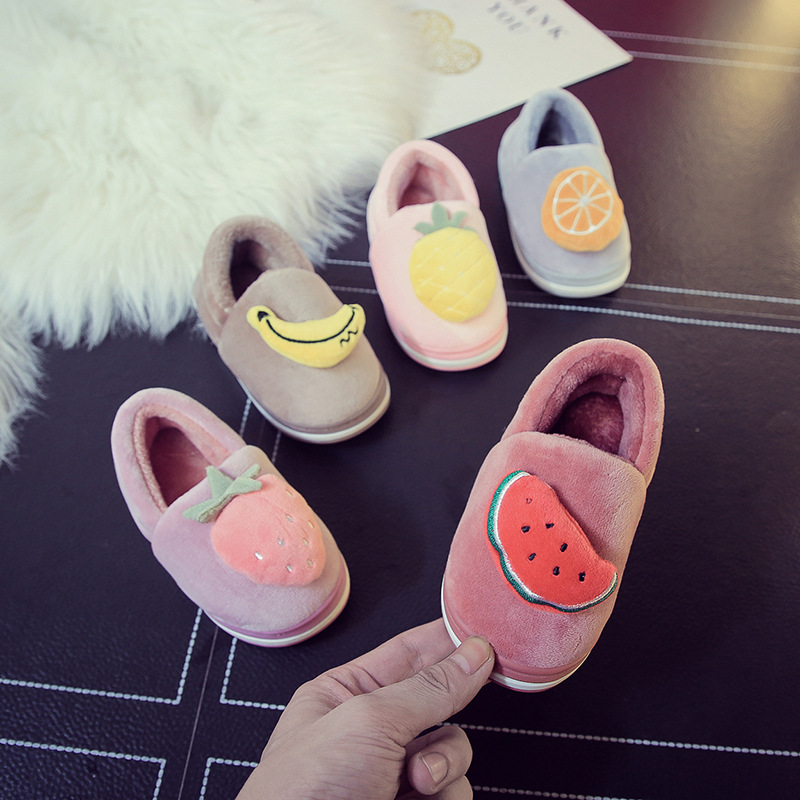 Winter Slippers Children For Boys Indoor Cotton Slipper Baby Warm Smiley Slippers Girls Flat House Guest Kids Home Shoes 2018 slipper