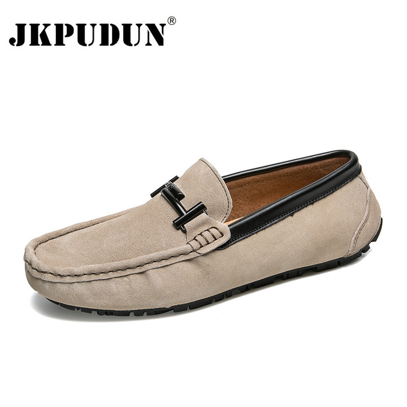 JKPUDUN Suede Loafers Men Shoes Casual Genuine Leather Slip on Mens Driving Shoes Moccasins Breathable Luxury Brand Boat Shoes suede slip on mens shoes
