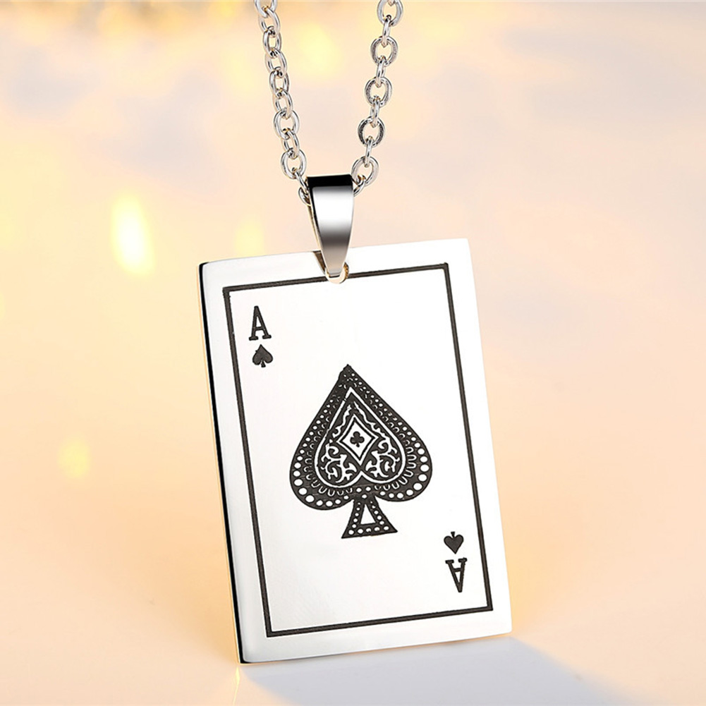 2018 New Fashion Style Hot Sale Personality Stainless Steel Playing Card A Poker Pendant Necklace for Men and Women Gifts