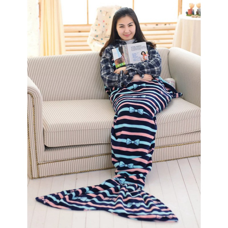 Soft Mermaid Tail Sofa plush Blanket Lap Throw Bed Wrap Fin Warm Cocoon Costume Girls Kids Children Sleeping Bag