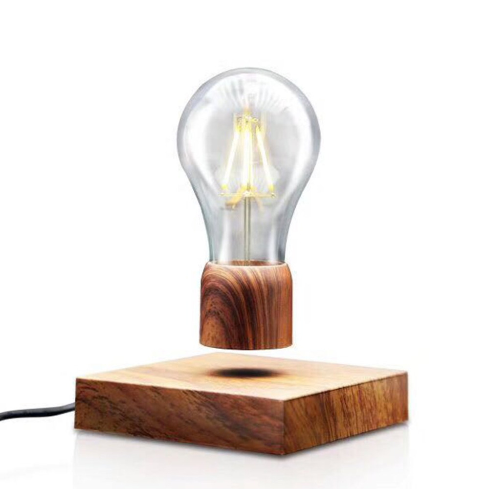 Novelty Magnetic Floating Lighting Bulb Vintage Wood Color Base LED Lamp Home Decoration For Living Room Bedroom Bedside novelty magnetic floating lighting bulb night light wood color base led lamp home decoration for living room bedroom desk lamp