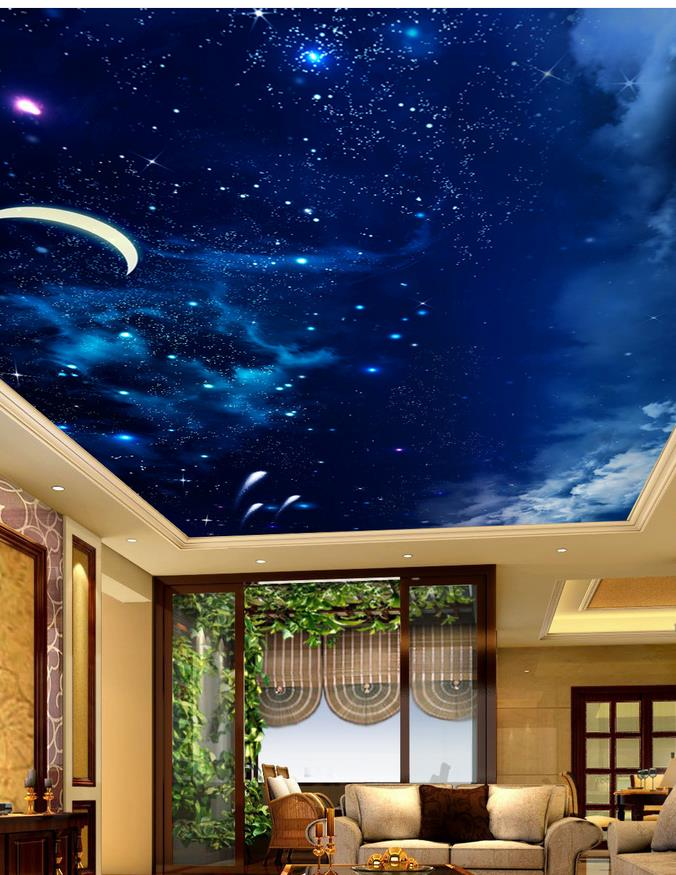 3d Sky Ceiling Wallpaper Custom Photo Wallpaper Large 3d Stereo Romantic Ceilings