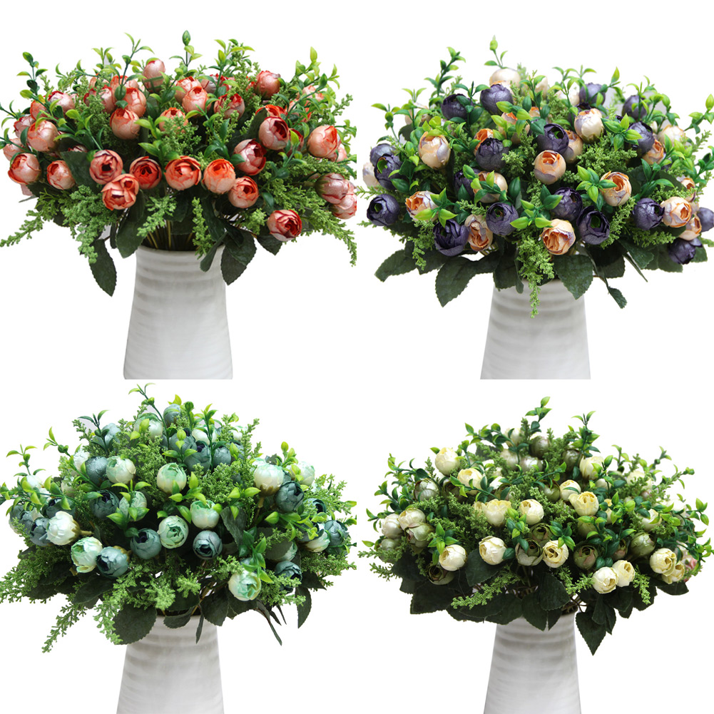 12 head rose tea buds buds bouquet flowers artificial for Artificial flowers decoration for home