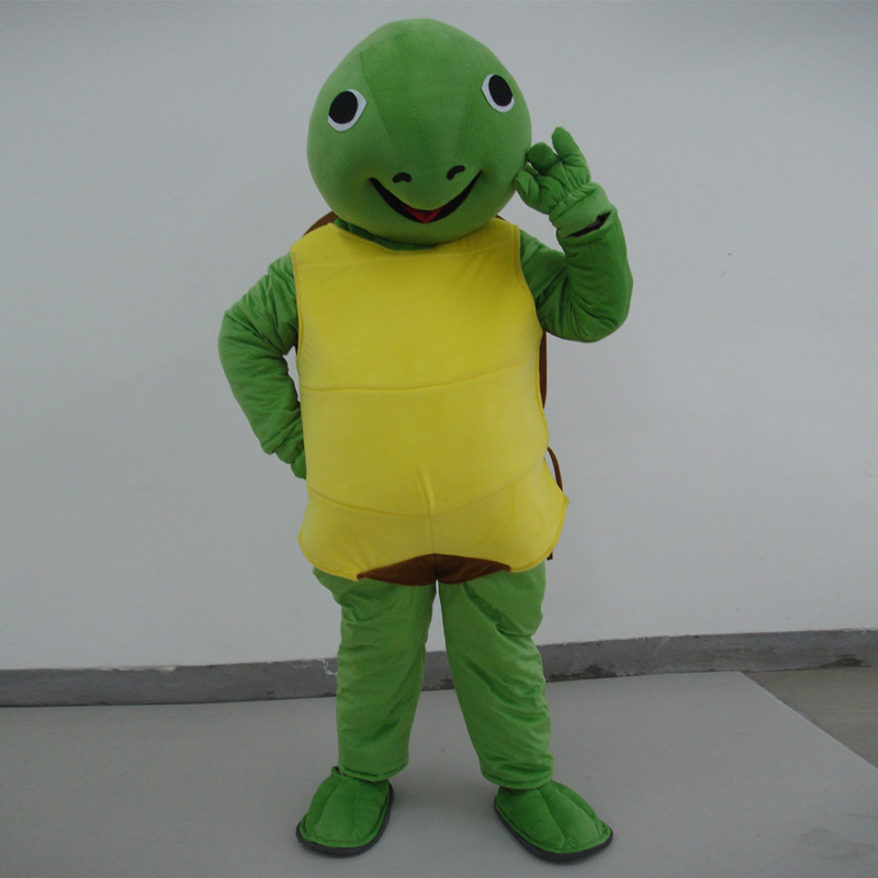 Vivid Green Turtle Chelonian Tortoise Chinemys Mascot Costume mascot cartoon character costume mascotte adulte Fancy party Dress