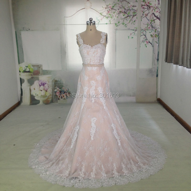 White and pink lace wedding dress