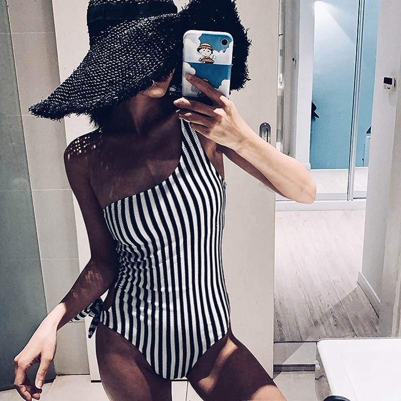 <font><b>Bikini</b></font> Push Up <font><b>Sexy</b></font> One Shoulder Piece Swimsuit Triangle Swimwear Swimsuit beach summerswimming suit for women Lace <font><b>Bikini</b></font> image