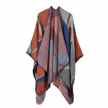 TOLINA Pattern printing Women Knitted Cashmere Poncho Capes Shawl Cardigans Sweater