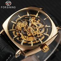 FORSINING Mens Watches Top Brand Luxury Skeleton Auto Mechanical Watch Men Brown Leather Strap Tonneau Dial