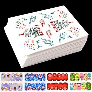 45 Uds de calcomanías navideñas para estampación de uñas, copos de nieve, cascabeles, mezcla de diseños, decoración artística de uñas