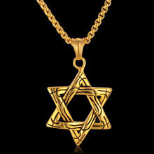 Magen Star Of David Titanium Israel Necklaces Pendants Women Stainless Steel Gold Silver Jewish Choker Men Jewelry(China)