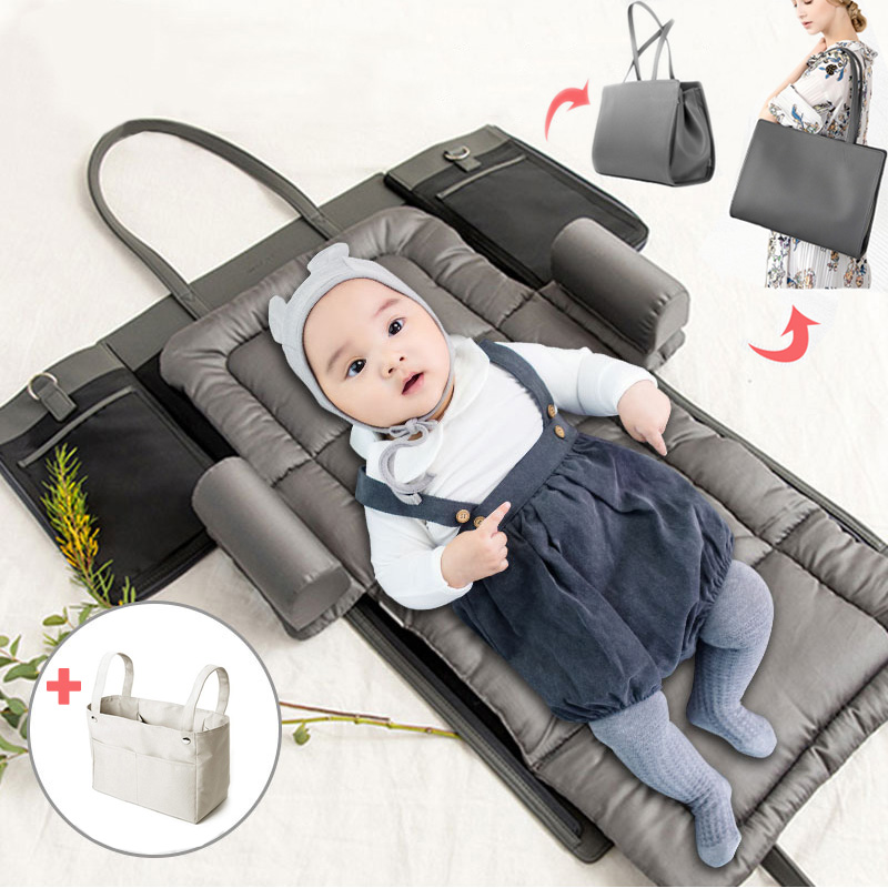 Baby Mattress Bag Portable Bed-in-Bed Mommy Bags Diaper Bag Infant Foldable Crib Travel Bed Baby Bassinet Cradle Nest 2pcs Set