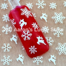 5PCS Christmas 3d glitter nail art stickers winter manicure nails decals foil decorations tool reindeer snowflake design TL22