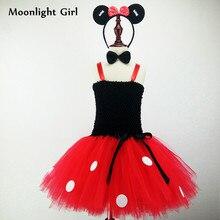 Moda preto vermelho meninas minnie vestido traje match headbands definir festa de aniversário tutu vestidos crianças traje de halloween mk022