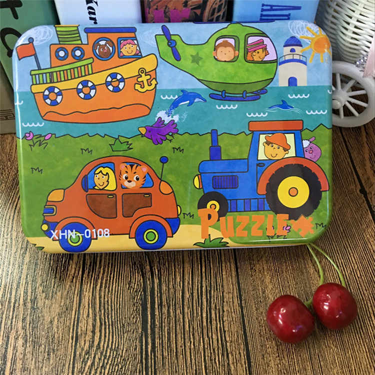 Детские развивающие игрушки 4 в 1 Набор головоломок 9/12/15/20 шт. всего 4 пазла железный ящик мультфильм животных/транспортное средство Детские деревянные игрушки подарок
