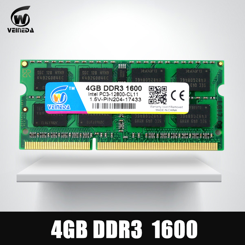 VEINEDA DDR3 4GB 8GB 1600NHz PC3-12800 So-dimm Ram Compatible ddr3 1333 PC3-10600 ddr 3 204pin For AMD Intel Laptop kembona 204pin brand new sealed ddr3 1333 pc3 10600 4gb laptop ram compatible with all motherboard 16chips free shipping