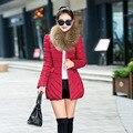 2017 мода осень и зима женщины долго вниз хлопка-ватник женский тонкий меховой воротник плюс размер шесть цветов верхняя одежда ватные