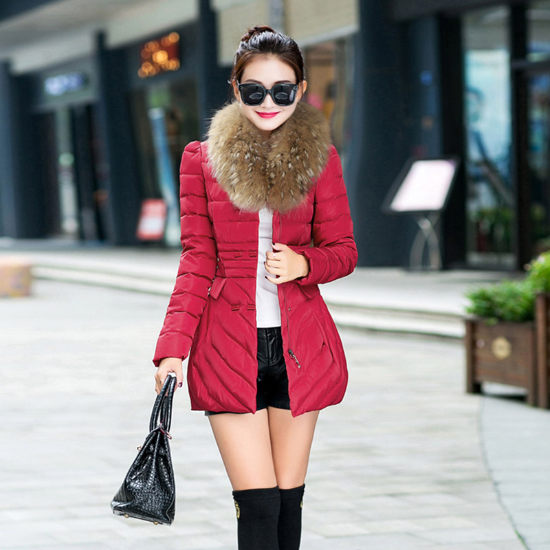 2015 fashion autumn and winter women long down cotton-padded jacket female slim fur collar plus size six colour outerwear wadded