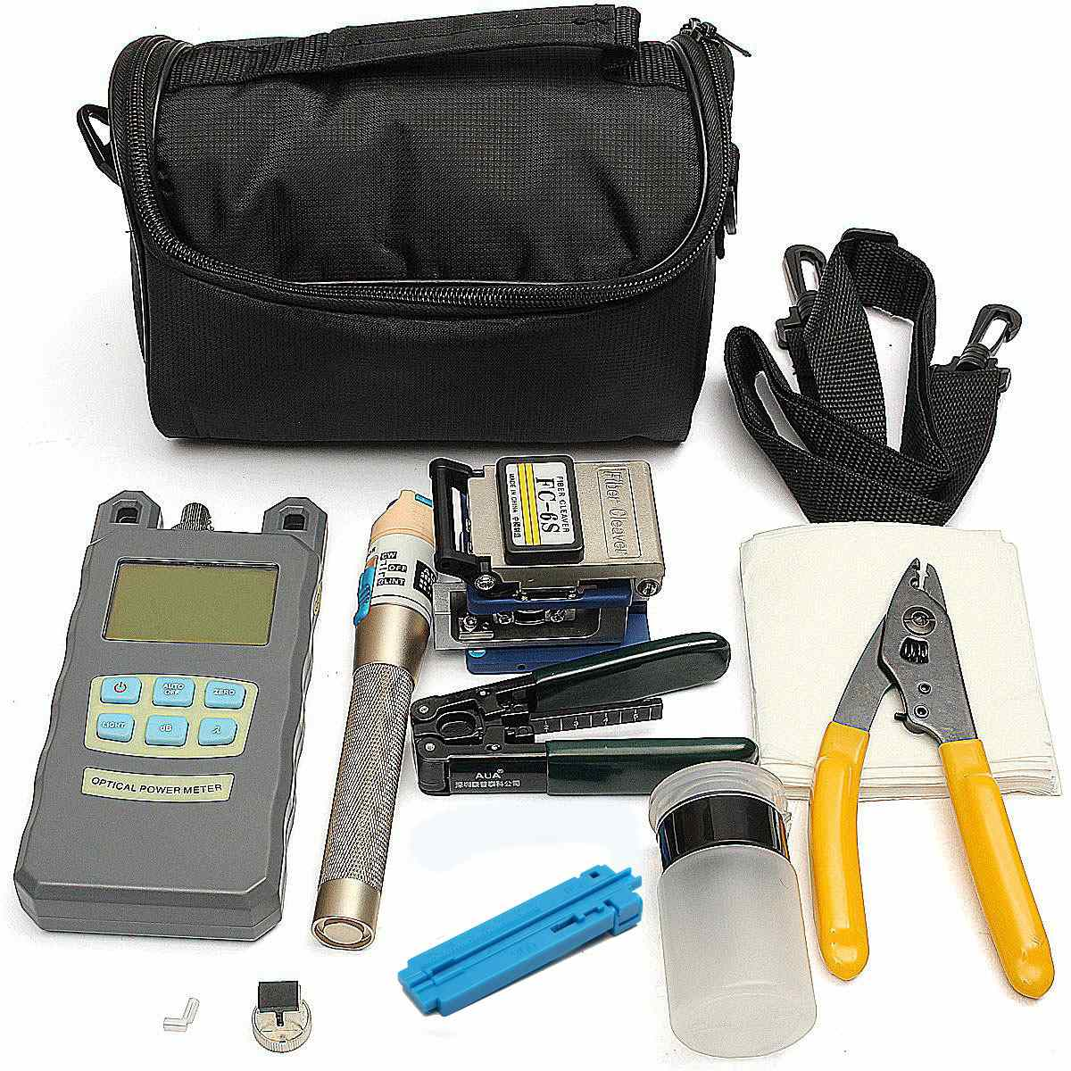 New Fiber Optic FTTH Tool Kit with FC-6S Fiber Cleaver and High Precision Optical Power Meter Fiber Optic Stripper ray tricker optoelectronics and fiber optic technology