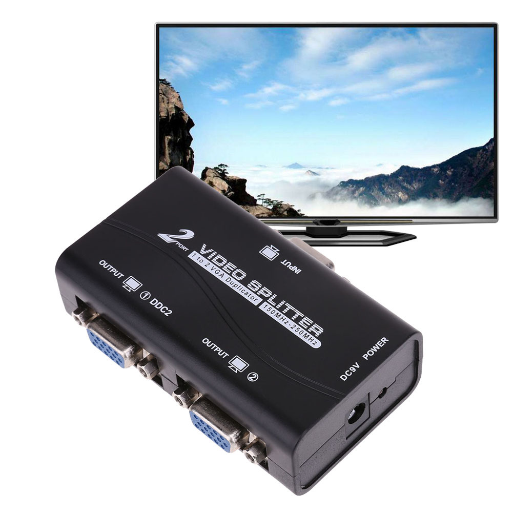 VKTECH 1 to 2 ports VGA Splitter 15pin Duplicator 1-in-2-out 250MHz Device Cascadedable Boots Video Signals 1 in 2 out ports hdmi 1 03b splitter