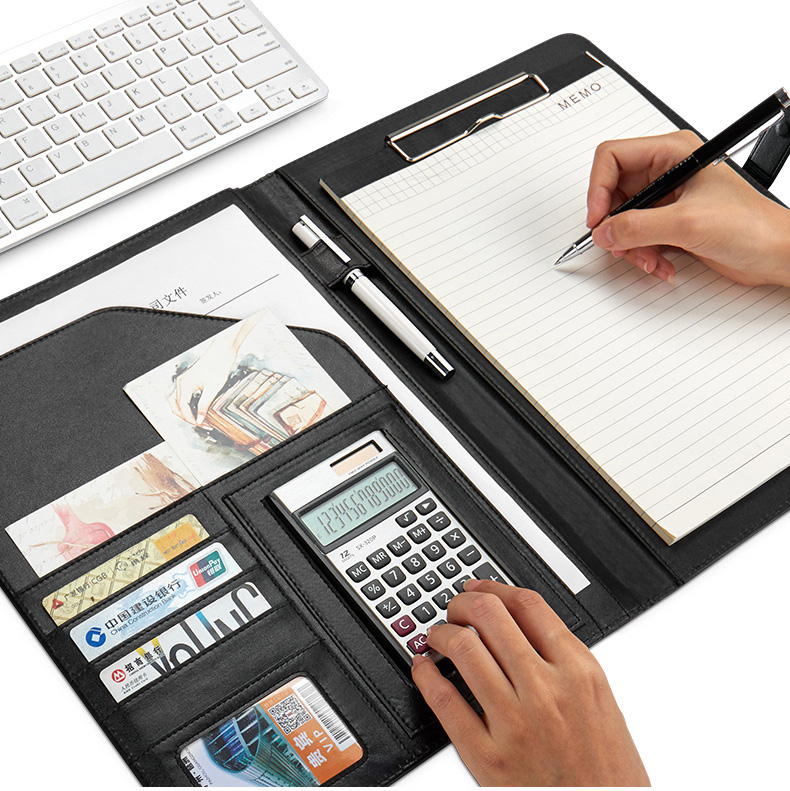 Multi-function Portable Filing Folder A4 Portfolio Memo Pad Holder Manager Sales Padfolio With Calculator Magnetic Clasp 1308C