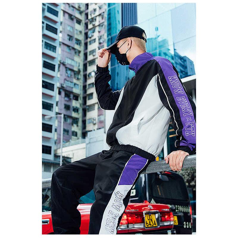 Мужской спортивный костюм со штанами, толстовка, мужская спортивная одежда, осенне-зимний спортивный костюм в стиле пэчворк, комплект из двух предметов, мужской спортивный костюм, хит продаж