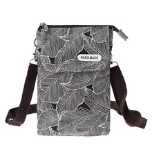 Premium Quality Women Canvas Leaf Pattern Crossbody Mobile Phone Small Shoulder Bag Pouch Case Purse Wallet