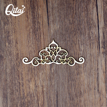QITAI 24 Pieces/lot Creative Colors Wooden Lace Ornaments Small Wood Home Decoration Shooting Props Wall Stickers Wf119