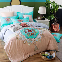 FADFAY Soft Bed Linen Flannel Fleece Fabric Queen Double Bed size Winter Warm Bedding Sets Bohemian Style Duvet Cover Bed Sets
